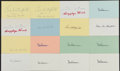Autographs:Index Cards, 1940s & 1950s Los Angeles Rams Legends Signed Index Cards, Lot of 16....