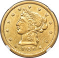 Territorial Gold , 1852 $10 Moffat & Co. Wide Date AU55 NGC. K-9, R.6....