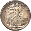 Errors, 1944 50C Walking Liberty Half -- Uncentered Broadstrike -- MS62 PCGS....