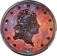1860 P$5 Five Dollar, Judd-272, Pollock-320, Low R.6, PR64+ Red and Brown PCGS. CAC....(PCGS# 12079)