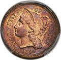 Patterns, 1865 3C Three Cent Nickel, Judd-414, Pollock-485, R.8, MS65+ PCGS. CAC....