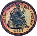 Proof Seated Half Dimes, 1868 H10C PR67+ Cameo PCGS. CAC....