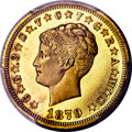 Patterns, 1879 $4 Coiled Hair Four Dollar, Judd-1639, Pollock-1839, Low R.7, PR64 Gilt Copper Cameo PCGS. CAC....