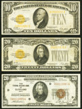 Small Size:Gold Certificates, Fr. 2400 $10 1928 Gold Certificate. Fine-VF, small left edge tear;. Fr. 2402 $20 1928 Gold Certificate. Fine-VF, rust on t... (Total: 3 notes)