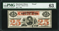 Elkton, MD- (City of) Elkton 25¢ Feb. 10,1863 as Shank 41.1.6 Proof PMG Choice Uncirculated 63