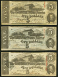 Confederate Notes:1863 Issues, T60 $5 1863 Three Examples Fine-Very Fine or Better.. ... (Total: 3 notes)