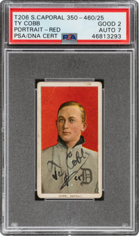 1909-11 T206 Sweet Caporal Ty Cobb Signed Portrait Red Background Good 2 Auto 7