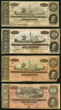 Confederate Notes:1864 Issues, T67 $20 1864 Three Examples Very Fine or Better;. T68 $10 1864 Very Fine.. ... (Total: 4 notes)