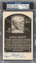 Baseball Collectibles:Others, 1962 Rogers Hornsby Signed Artvue Hall of Fame Plaque Postcard, PSA/DNA Authentic. ...