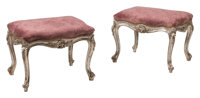 A Pair of Italian Louis XV-Style Upholstered Carved and Silvered Wood Stools 18 x 24 x 17 inches (45.7 x 61.0 x 43