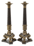 Furniture, A Pair of Monumental French Empire-Style Gilt and Patinated Bronze Candlesticks, 19th century . 29-1/2 x 11 x 11 inches (74.... (Total: 2 Items)