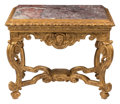 Furniture, A Continental Baroque Carved Gilt Wood Console Table, second quarter 18th century. 33 x 40 x 24-1/2 inches (83.8 x 101.6 x 6...