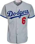 Baseball Collectibles:Uniforms, 1982 Steve Garvey Game Worn & Signed Los Angeles Dodgers Jersey. ...