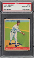 Baseball Cards:Singles (1930-1939), 1933 Goudey Red Faber #79 PSA NM-MT 8 - Two Higher....
