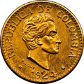 Colombia, Colombia: Republic gold 5 Pesos 1924 MS64 NGC,...