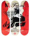 Collectible, Shepard Fairey X The Skateroom. No Future, triptych, 2017. Screenprints in colors on skate decks. 32 x 8 inches (81.3 x ... (Total: 3 Items)