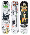 Collectible, After Jean-Michel Basquiat X The Skateroom. Quality Meats for the Public, triptych, 2014. Screenprints in colors on skat... (Total: 3 Items)