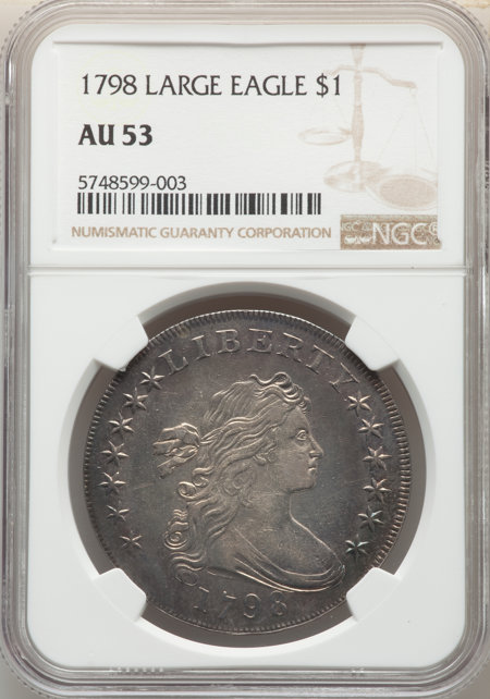 1798 S$1 Large Eagle, Pointed 9 53 NGC