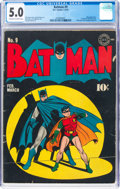 Golden Age (1938-1955):Superhero, Batman #9 (DC, 1942) CGC VG/FN 5.0 Off-white to white pages....