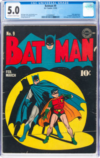 Batman #9 (DC, 1942) CGC VG/FN 5.0 Off-white to white pages