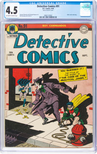 Detective Comics #91 (DC, 1944) CGC VG+ 4.5 Off-white to white pages