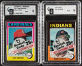 Baseball Cards:Unopened Packs/Display Boxes, 1975 Topps Baseball Cello Pack GAI Graded Lot of Two (2)....