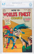 Golden Age (1938-1955):Superhero, World's Finest Comics #71 (DC, 1954) CBCS VG+ 4.5 Off-white to white pages....