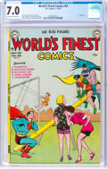 Silver Age (1956-1969):Superhero, World's Finest Comics #61 (DC, 1952) CGC FN/VF 7.0 Off-white to white pages....