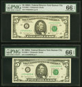 Fr. 1980-J $5 1988A Federal Reserve Notes. Two Examples. J-A and J-B Blocks. PMG Gem Uncirculated 66 EPQ