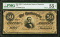 Confederate Notes:1864 Issues, For Begisteb - For Treasubeb Engraving Error T66 $50 1864 PF-20 Cr. UNL PMG About Uncirculated 55 Net.. ...