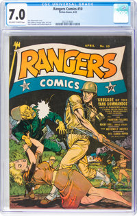 Rangers Comics #10 (Fiction House, 1943) CGC FN/VF 7.0 Off-white to white pages