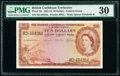 World Currency, British Caribbean Territories Currency Board 10 Dollars 2.1.1962 Pick 10c PMG Very Fine 30.. ...