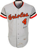 Baseball Collectibles:Uniforms, 1975 Earl Weaver Game Worn & Signed Baltimore Orioles Jersey with Special Cigarette Pouch. ...