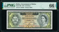 Belize Government of Belize 10 Dollars 1.6.1975 Pick 36b PMG Gem Uncirculated 66 EPQ