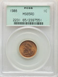 Indian Cents: , 1908 1C MS65 Red PCGS. PCGS Population: (264/101). NGC Census: (145/37). CDN: $410 Whsle. Bid for NGC/PCGS MS65. Mintage 32...