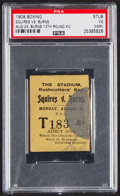 Boxing Collectibles:Memorabilia, 1908 Tommy Burns vs. Bill Squires Boxing Match Ticket Stub, PSA VG 3....