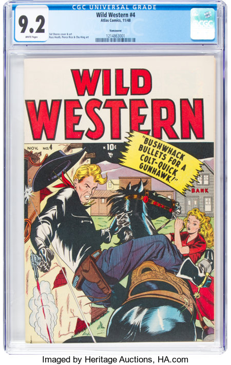 Wild Western #4 Vancouver Pedigree (Atlas, 1948) CGC NM- 9.2 White pages....