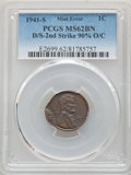 Errors, 1941-S 1C Lincoln Cent -- Double Struck, Second Strike 90% Off Center -- MS62 Brown PCGS....