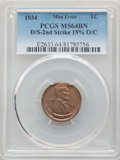 Errors, 1934 1C Lincoln Cent -- Double Struck, Second Strike 15% Off Center -- MS64 Brown PCGS....
