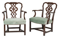 A Pair of English Chippendale-Style Upholstered Mahogany Armchairs, 19th century 36 x 27-1/2 x 22 inches (91.4 x