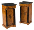 Furniture, A Pair of Empire-Style Partial Ebonized Nightstands with Marble Tops. 31 x 15-1/2 x 14-1/2 inches (78.7 x 39.4 x 36.8 cm) (e... (Total: 2 Items)