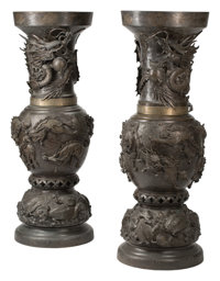 A Pair of Monumental Japanese Bronze Vases, Meiji Period, 19th century 54-1/2 x 20 inches (138.4 x 50.8 cm) (each