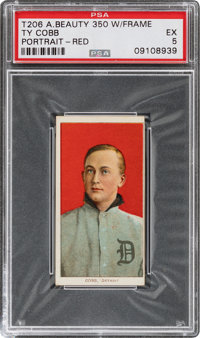 1909-11 T206 American Beauty 350-With Frame Ty Cobb (Portrait-Red) PSA EX 5 - Pop One, One Higher For Brand
