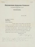 Baseball Collectibles:Others, 1930 Barney Dreyfuss Signed Letter with Unique Notation....