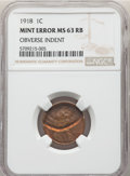 Errors, 1918 1C Lincoln Cent -- Obverse Indent -- MS63 Red and Brown NGC....