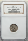 Errors, 1958 1C Lincoln Cent -- Struck on Type One Cuba 1C Planchet -- MS64 NGC. 2.5 Grams. Satiny nickel-gray luster complements s...