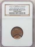 Errors, 1919 1C Lincoln Cent -- Broadstruck with Obverse Indent -- MS63 Brown NGC....