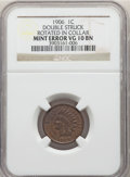 Errors, 1906 1C Indian Cent -- Double Struck, Rotated in Collar -- VG10 NGC....