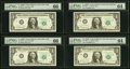 Fr. 1902-B (2); L (2) $1 1963B Federal Reserve Notes. PMG Graded Gem Uncirculated 66 (2); Choice Uncirculated 64 (2)