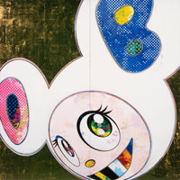 Takashi Murakami (b. 1962) DOB in Pure White (Pink & Blue), 2013 Offset lithograph in colors on smoo